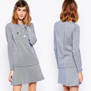 {See By Chloe} Striped Cotton Dress Anchor Motif